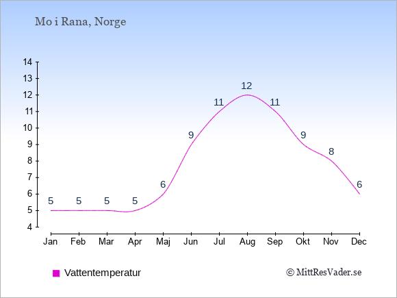 Vattentemperatur i  Mo i Rana. Badvattentemperatur.