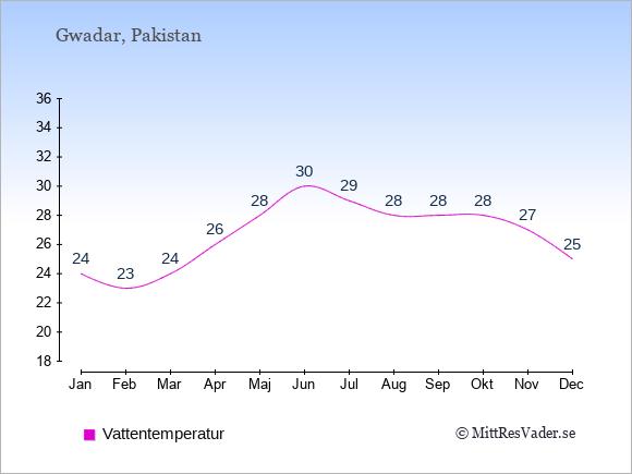 Vattentemperatur i Gwadar Badtemperatur: Januari 24. Februari 23. Mars 24. April 26. Maj 28. Juni 30. Juli 29. Augusti 28. September 28. Oktober 28. November 27. December 25.