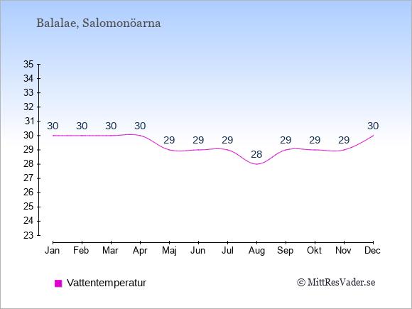 Vattentemperatur på  Balalae. Badvattentemperatur.