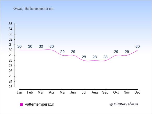 Vattentemperatur i  Gizo. Badvattentemperatur.