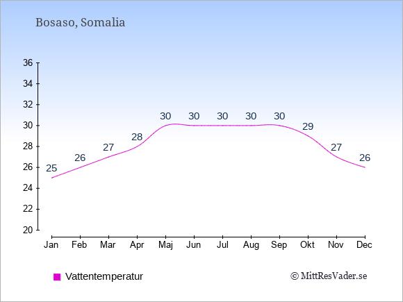 Vattentemperatur i Bosaso Badtemperatur: Januari 25. Februari 26. Mars 27. April 28. Maj 30. Juni 30. Juli 30. Augusti 30. September 30. Oktober 29. November 27. December 26.