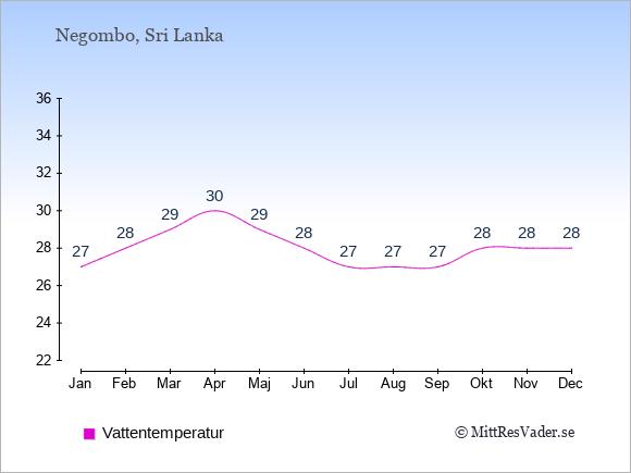 Vattentemperatur i Negombo Badtemperatur: Januari 27. Februari 28. Mars 29. April 30. Maj 29. Juni 28. Juli 27. Augusti 27. September 27. Oktober 28. November 28. December 28.