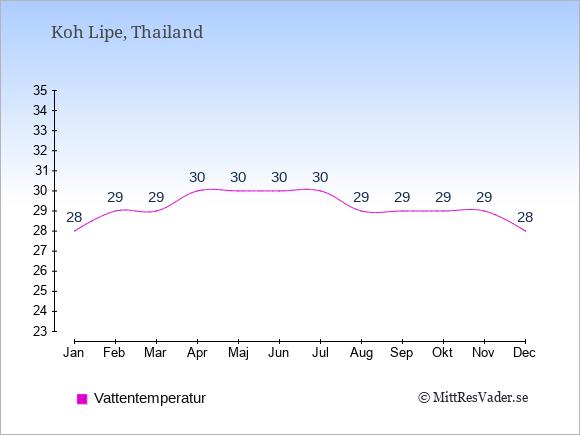 Vattentemperatur på Koh Lipe Badtemperatur: Januari 28. Februari 29. Mars 29. April 30. Maj 30. Juni 30. Juli 30. Augusti 29. September 29. Oktober 29. November 29. December 28.
