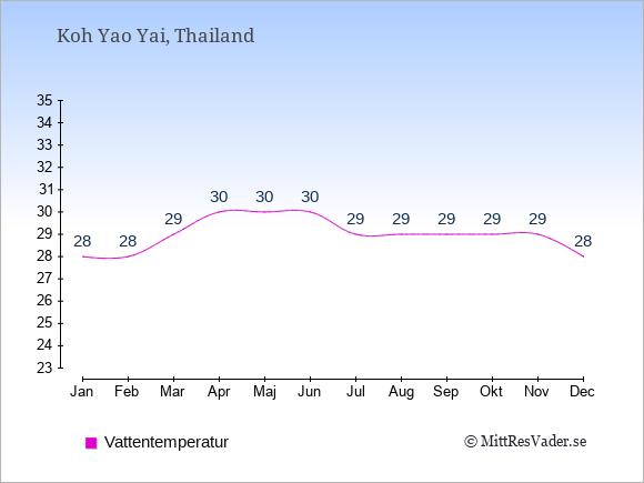 Vattentemperatur på Koh Yao Yai Badtemperatur: Januari 28. Februari 28. Mars 29. April 30. Maj 30. Juni 30. Juli 29. Augusti 29. September 29. Oktober 29. November 29. December 28.
