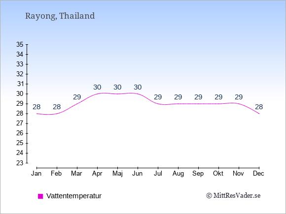 Vattentemperatur i Rayong Badtemperatur: Januari 28. Februari 28. Mars 29. April 30. Maj 30. Juni 30. Juli 29. Augusti 29. September 29. Oktober 29. November 29. December 28.