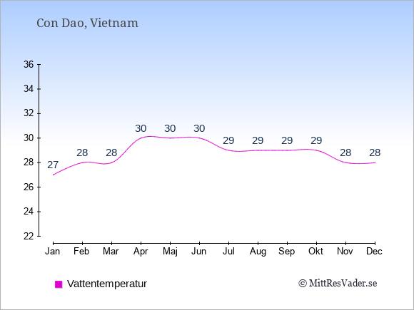 Vattentemperatur på  Con Dao. Badvattentemperatur.