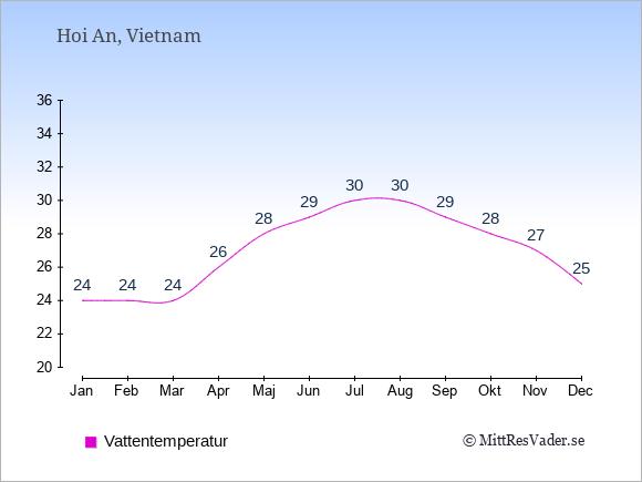 Vattentemperatur i  Hoi An. Badvattentemperatur.